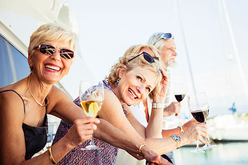 People celebrating an event on a yacht