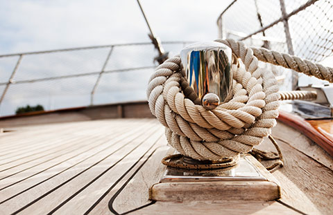 Rope and knot on the deck of a luxury sailboat